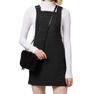 Pinstripe Pinafore Dress Overall Dress by Topshop